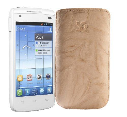 Original Suncase Tasche fuer / Alcatel One Touch 992D (Dual-Sim) / Leder Etui Handytasche Ledertasche Schutzhuelle Case Huelle - Lasche mit Rueckzugfunktion* In Wash-Beige