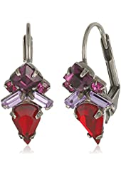 Sorrelli Pink Ruby Petite Firefly Crystal French Wire Drop Earrings
