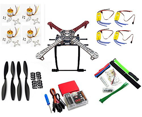 YoCoo® DIY F450 4-Axis RC QuadCopter MultiCopter Frame Kit + A2212 1000KV Brushless Motors + 30A ESC + 1045 Propeller Props + FPV Landing Gear + QQ Super Flight Control Board (Set 3) (4 Brushless Motors Quadcopter compare prices)