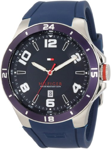 TOMMY HILFIGER 1790862 GENTS BLUE RUBBER STAINLESS STEEL CASE RRP £76 DATE WATCH