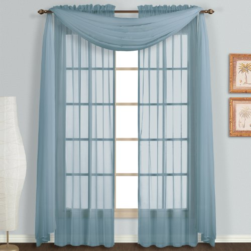 United curtain monte carlo sheer window curtain panel 118 by 84 inch slate blue set of 2 home - Epic window treatment decoration with slate blue curtain ...