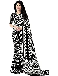 Kanchnar Women's Black And White Italian Crepe Printed Casual Wear Saree With Un-stitched Printed Blouse Fabric