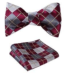SetSense Men\'s Plaid Jacquard Woven Self Bow Tie Set One Size Burgundy / Gray / Gold