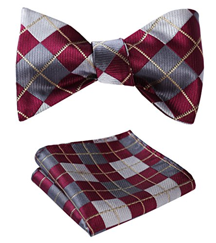 SetSense Men's Plaid Jacquard Woven Self Bow Tie Set One Size Burgundy / Gray / Gold (Mens Bow Ties Self Tie compare prices)