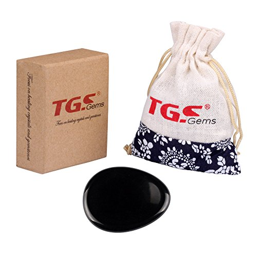 TGS Gems® Black Obsidian Carved Irish Worry Stone Healing Crystals Free Pouch (Smooth Gem Rocks compare prices)