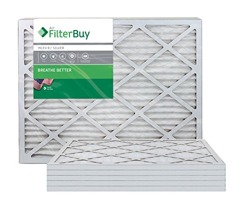 AFB Silver MERV 8 20x23x1 Pleated AC Furnace Air Filter. Pack of 6 Filters. 100% produced in the USA.