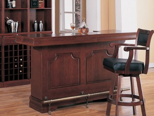 Coaster Traditional Cherry Finish Bar Unit W/Wine Rack Sink Drawers front-487162