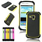 Voberry 1 x Hybrid Rugged Rubber Hard High Impact Armor Case Cover For Samsung Galaxy S III Mini i8190 (Yellow)