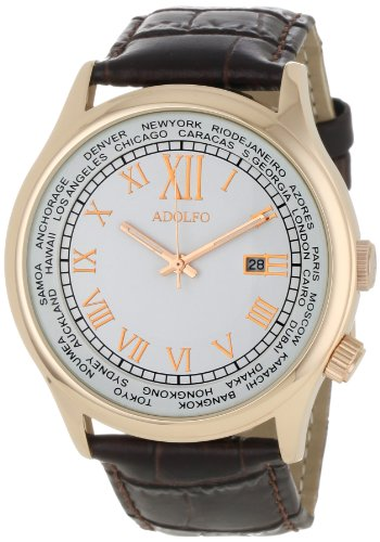ADOLFO Men's 31006A World Timer Calendar Watch