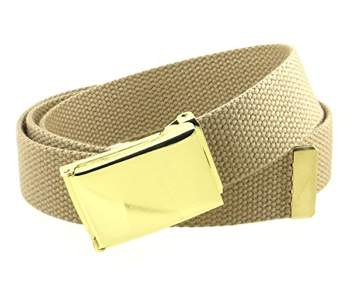 "Canvas Web Belt Flip-Top Brass Plate Buckle/Tip Solid Color 50"" Long (Khaki)"