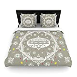 "Kess InHouse 88 by 104-Inch Miranda Mol ""Deco Wreath Silver"" Gray Woven Duvet Cover, King"