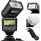 Altura Photo E-TTL Auto-Focus Dedicated Flash (AP-C1001) for Canon DSLR Cameras including Rebel EOS T3i T4i T5i T2i T1i SL1 20D 30D 40D 50D 60D 70D 5D 6D 7D - EOS 700D 650D 600D 550D 500D 100D + Flash Stand + Protective Pouch + Hard Diffuser + MagicFiber Microfiber Lens Cleaning Cloth