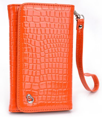 Sunset Orange MustHave Wristlet Croc Wallet Case for Samsung Galaxy A3 (2016), J1 (2016), S6, S5 mini, S4 S4 Mini, S3 S2 Smartphone (Forro Para Samsung Galaxy S4 Mini compare prices)