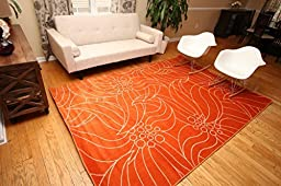 New City New Floral City Floral Contemporary Orange and White Modern Area Rug 4\'3 x 5\'6
