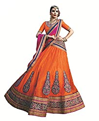 Ishin Women's Net Satin Embellished Orange & Pink Lehenga