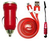 Emartbuy® Trio Pack For Star N9770 - Red Bullet 1 Amp USB Car Charger + Red Metallic Mini Stylus + Red Flat Anti-Tangle Micro USB Sync / Transfer Data & Charger Cable