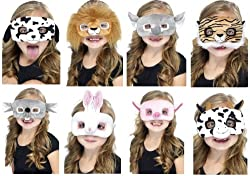 Girls Boys Kids Animal Lion Elephant Mouse Rat Rodent Cow Pig Piglet Tiger Dalmatian Dog Bunny Rabbit Mask Fancy Dress Up Kit Costume Outfit