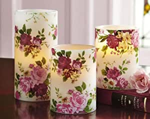 Lighted Flameless Rose Pillar Candles - Set Of 3