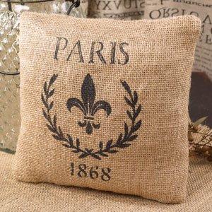 Paris 1868 & Fleur De Lis French Flea Market Small Burlap Accent Throw