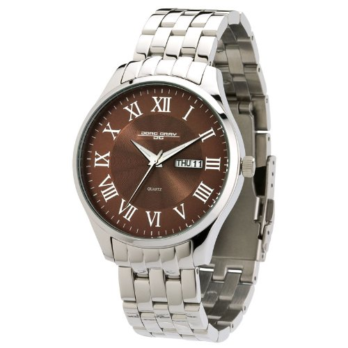 Jorg Gray Men's Quartz Watch with Brown Dial Analogue Display and Silver Stainless Steel Bracelet JG1760-11