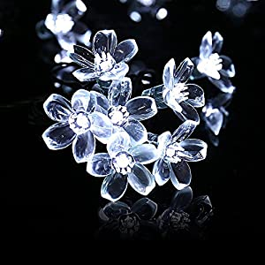 LuckLED Flower Solar Christmas Lights, 21ft 50 LED Fairy Blossom String Lights Decorative Lighting for Indoor/Outdoor, Home, Garden, Wedding, Xmas Tree, Party and Holiday Decorations(Daylight White)