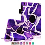 Fintie 360 Degree Rotating Stand Smart Cover Case with Automatic Sleep/Wake Feature for Apple iPad Mini 7.9 inch Tablet - Giraffe Purple