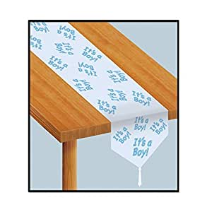 Buy beistle 54222 printed it 39 s a boy table runner 11 inch for 12 foot table runner