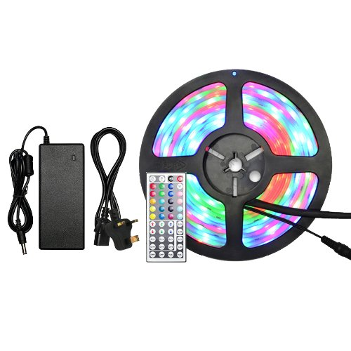 Miniwatts Ip68 Waterproof & Dustproof 5050 5M 60/M 300 Smd Leds Rgb Led Strip With Ir Controller And 6A Power Supply & Uk Plug Kit