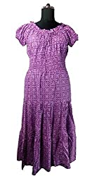 Anuze Fashions New Fashion Casual Wear Light Purple Colour With White Dot Print Cotton Smoking Long Dress For Women's And Girl's