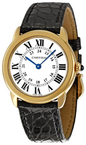 Cartier Women's Ronde Solo De Cartier 29.5mm Black Leather Band Gold Plated Case Quartz Watch W6700355