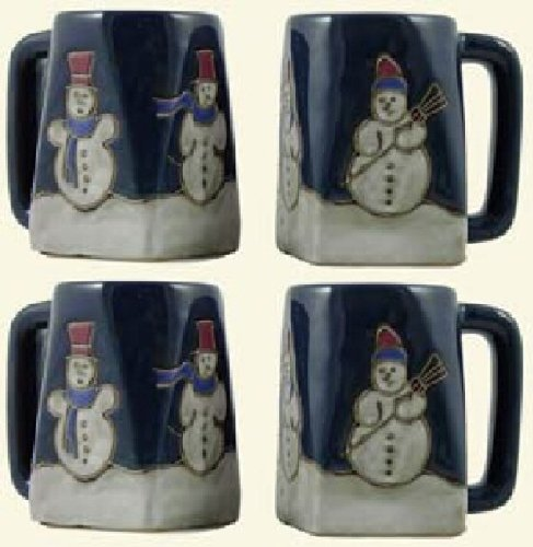 Set Of Four (4) Mara Stoneware Collection - 12 Oz Coffee Cup Collectible Square Mugs With Countertop Stackable Mug Post - Snowman Design