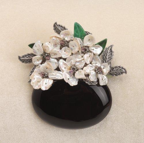 Vintage SMOKY QUARTZ Based Pearl Flower Brooch