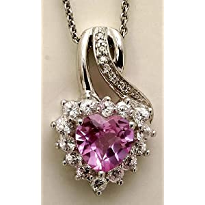 Jewelili Heart Pendant with Faceted Heart Created Pink Amethyst and Created White Sapphire and Diamond in Sterling Silver, 18""