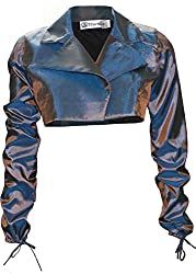 Attuendo Women's 100% Silk Long Sleeves Shrug with Open Front (Large)