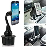 ChargerCity Versatile Apple iPhone 6 5 5S 5C Plus Google Nexus 4 5 Samsung Galaxy S6 S5 S4 A3 A5 Note 4 3 Edge Mega HTC ONE Max Motorola Moto X G Droid LG G G3 G4 Pro (Max Extend up to 90mm) Car Vehicle Cup Holder Mount *Bonus Function - Smartphone holder can attach itself directly to Tripod to record video and picture taking*