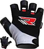 Authentic RDX Leather Gel Body Building Gloves Weight Lifting Fitness Gym Wear Exercise Workout Training