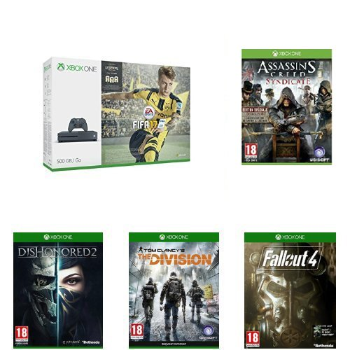 Pack Console Xbox One S 500 Go Storm Grey + Fifa 17 + Assassin's Creed : Syndicate - édition spéciale + Fallout 4 + The Division + Dishonored 2