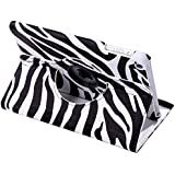 HDE 360° Rotating Leather Folding Folio Case Stand Cover for iPad Mini 1/2/3 and Retina Tablet (Zebra Print)
