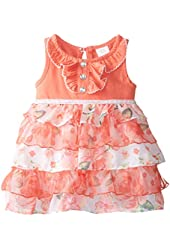 Youngland Baby-Girls Newborn Knit and Mesh Tiered Fashion Dress