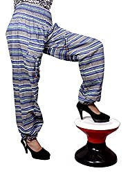 Cotton Aladdin Striped Genie Harem Beggy Pants Gypsy Trousers Free Size (Light Blue)