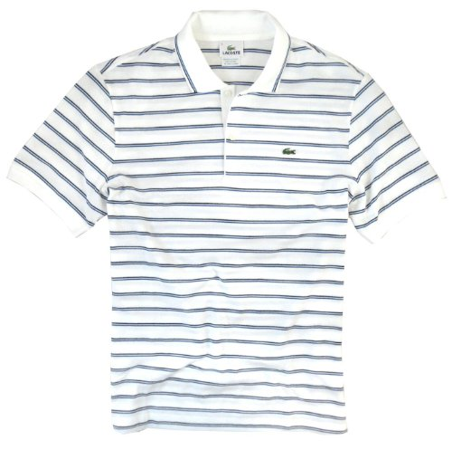 Lacoste Men's Classic Stripe Tipped Polo Shirt (Medium, White)