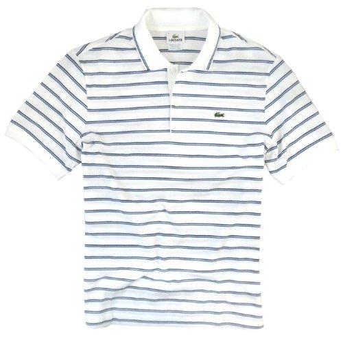 Lacoste Men's Classic Stripe Tipped Polo Shirt (Medium, White)