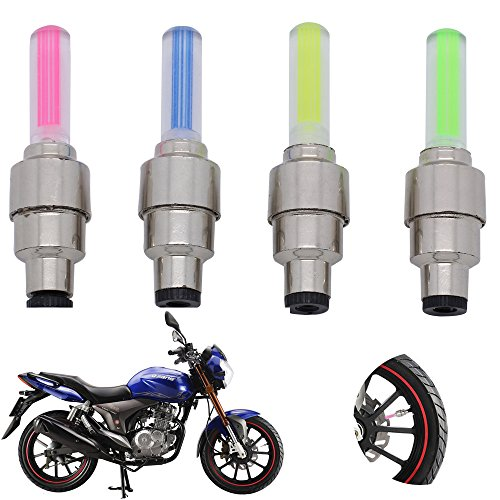 Moon Gazer 10Pcs Cycling Bike Bicycle Wheel Tire Valve Cap Spoke Neon Led Lights Safety Lamp Colorful Motorcycle Spoke Wheel Lights/Bicycle Spoke Led Lights/Led Spoke Light/ Tyre Valve Dust Cap Safety Light