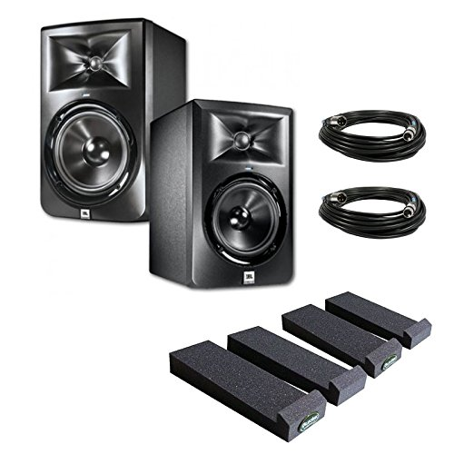 Jbl Lsr305 5-Inch Two-Way Powered Studio Monitors (Pair) W/ Auralex Mopads + (2) Xlr Cables