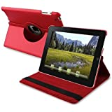 eForCity 360-Degree Swivel Leather Case for Apple iPad 2/3/4, Red (PAPPIPADLC44)