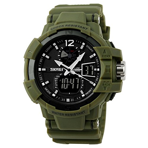 Skmei 1040 Outdoor Sports Personality Waterproof Electronic Watch Gift For Student (Army Green)