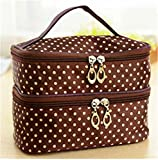 Storage Handbag Waterproof Make Up Double Layer Dots Cosmetic Package Bags