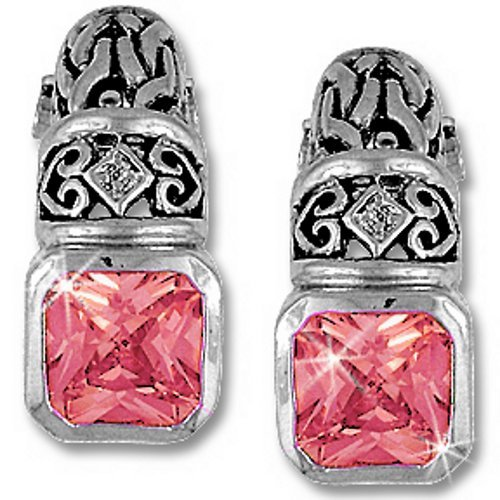 Silver Cubic Zirconia Pink Ice Vintage Designer Drop Earrings