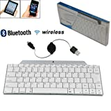 BESTEK Ultra Slim Mini Aluminium Bluetooth 3.0/2.0 Bluetooth Wireless Remote Keyboard keypad for iPad mini/IPAD 4/New Ipad 3/Iphone 3G 3GS/Macbook/ iPod Touch/Bluetooth-enabled Tablet keyboard/ Samsung Galaxy S1 S2 S3 samsung Galaxy Note 8/ Note 10.1 Tab