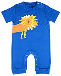 Lil Penguin Baby Boys' Cotton Romper (LP06B5, Blue, 3-6 Months)